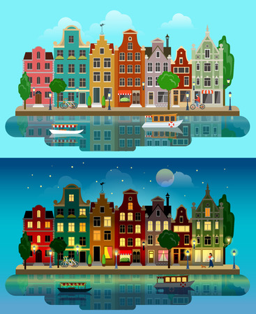 river boat: Flat cartoon multicolor colorful historic buildings city town suburb set day and sunset night Amsterdam Holland. River canal channel boat embankment street bicycles. Urban life lifestyle collection.