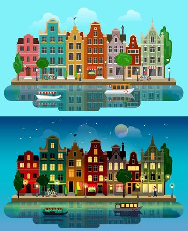Flat cartoon multicolor kleurrijke historische gebouwen stad voorstad set dag en zonsondergang nacht Amsterdam Holland. River kanaal boot dijk straat fietsen. Stedelijke levensstijl life collectie.