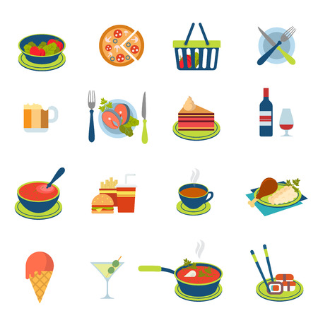 food to eat: Flat style restaurant fast street food cafe drink icon set. Menu eat beverage dinner lunch salad pizza fish salmon soup sushi chicken ice-cream tea wine dessert web infographic icons collection.