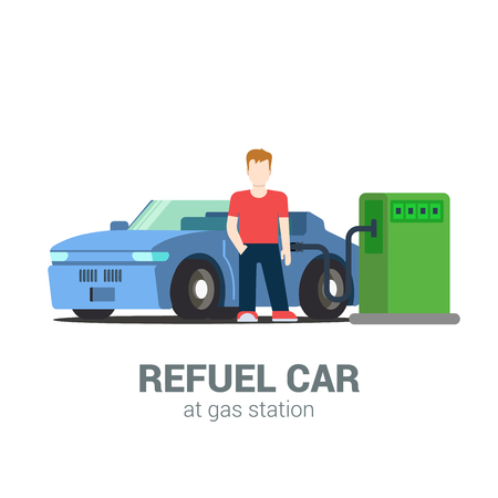 refuel: Car fuel refill process at gas refuel station. Young man and cabriolet. Flat style modern professional job related icon man workplace objects. People at work collection. Illustration