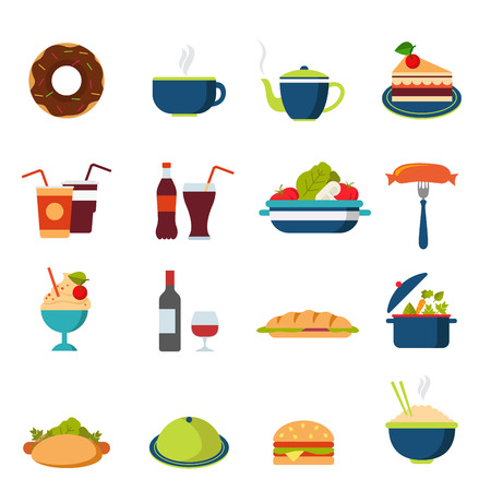 rice wine: Flat style fast street food drink cafe restaurant icon set. Menu eat beverage dinner lunch burger cola coffee tea bakery cake bottle hamburger dessert web infographic icons collection.