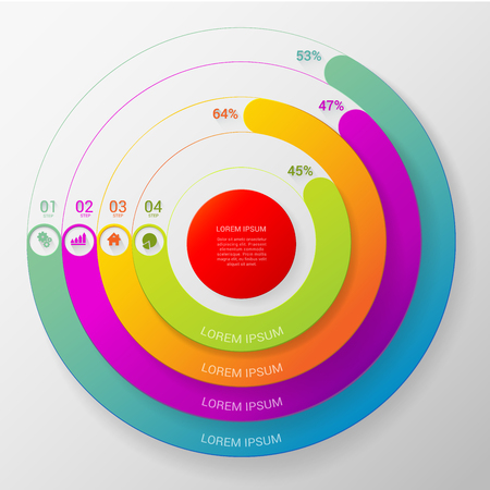 interlace: Circular stylish multicolor round percent line 4 step indicators infographics mockup template. Target red center thick lines intertwine interlace. Infographic elements background concepts collection.