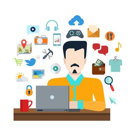 стиль жизни: Плоский стиль онлайновых социальных медиа-контента обмена образа жизни инфографики набор иконок концепции коллаж. Стильный молодой человек с ноутбуком и жизнь значок объекта набора. Творческая коллекция людей.
