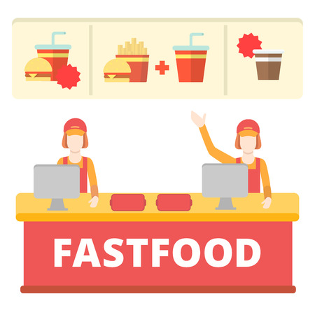 Fastfood flat style order desk cashier line concept. Two free cashdesk table female workers menu burger cola fries coffee. Creative people collection. Illustration