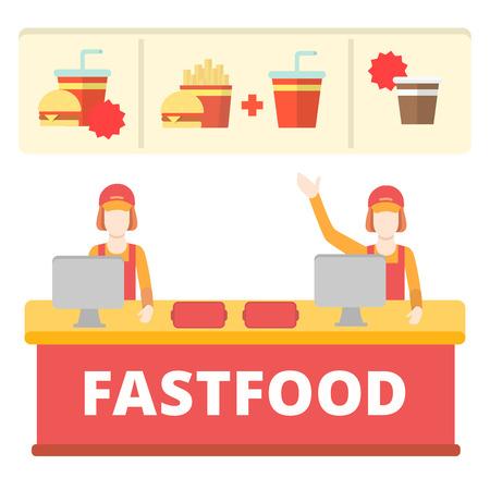 fastfood: Thức ăn nhanh bằng phẳng để phong cách dòng bàn thu ngân khái niệm. Hai bảng cashdesk miễn phí khoai tây chiên đơn nữ công nhân hamburger cola cà phê. Creative người sưu tập. Hình minh hoạ