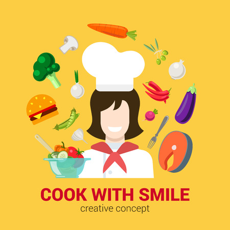 food ingredient: Flat style creative cooking fresh cook with smile concept. Happy smiling female kitchen professional chief and food ingredient icon set. Salmon fish steak salad burger mushroom vegetable.