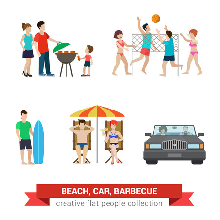 situations: Flat style modern beach backyard people family lifestyle icons situations web template infographic vector icon set. Surfer couple children parenting beach volleyball umbrella lounge chair barbecue.