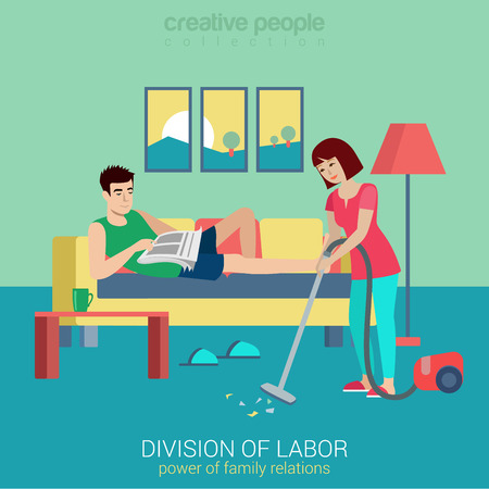 situation: Flat style division of labor lifestyle household domestic relations conflict situation. Woman vacuum clean room man lying reading newspaper. Creative people collection. Illustration