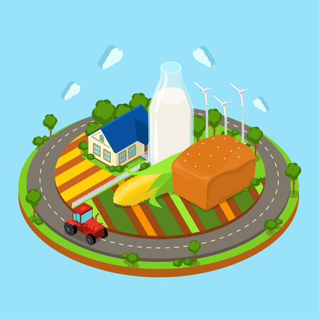 farmhouse: Flat 3d isometric countryside farm infographics. Farmhouse tractor on circle road field and huge corn bread loaf wind turbine icon concept. Web isometry infographic collection.