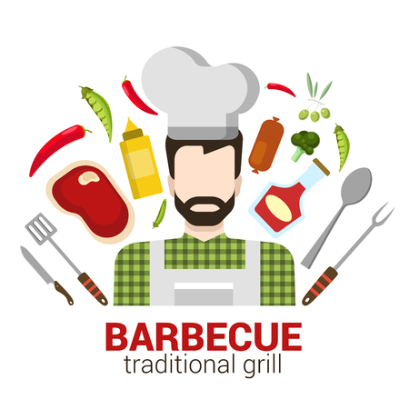 related: Flat style modern professional cook cafe restaurant barbecue grill job related icon man workplace objects. Male figure cap tools. People at work collection.