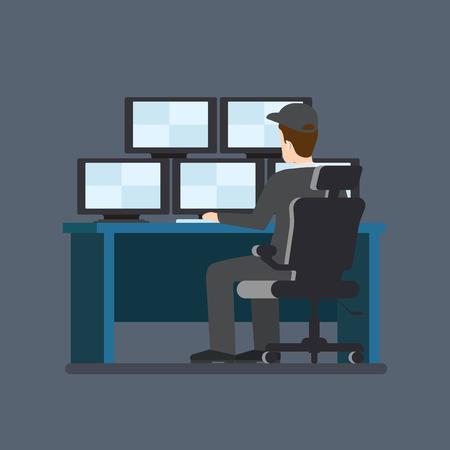 guardia de seguridad: Servicio de seguridad tabla de pantalla de la cámara Sala de trabajo. estilo plana modernos profesionales de iconos relacionados con el trabajo del hombre el lugar de trabajo objetos. Escaparate de la caja del teléfono portátil PC de valores. La gente trabaja colección.