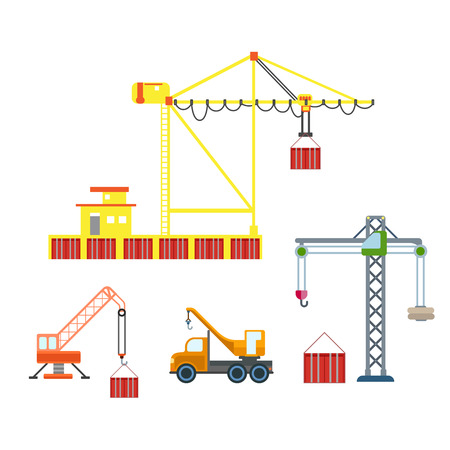 port: Flat city crane construction sea port container box logistics transport icon set. Build your own world web infographic collection.
