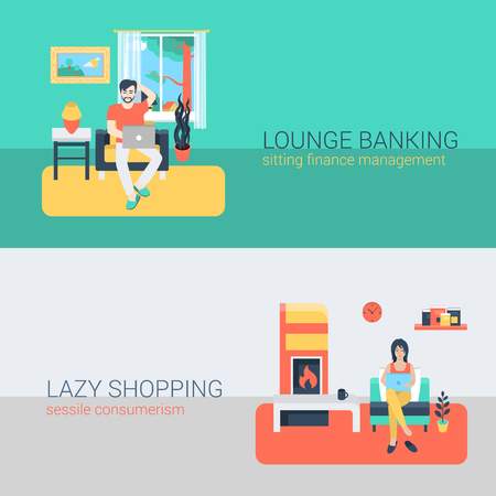 triptico: estilo plano de personas conjunto de sofás de ocio relaje actividad en línea. Hombre que se sienta portátil gestión de las finanzas banca en línea. Joven mujer chimenea portátil de compras consumismo sésiles. personas colección creativa. Vectores