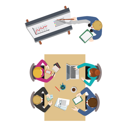 a table: Office meeting room top view report business collaboration teamwork brainstorming flat web infographic concept vector. Staff around table working with laptop tablet. Creative people collection.