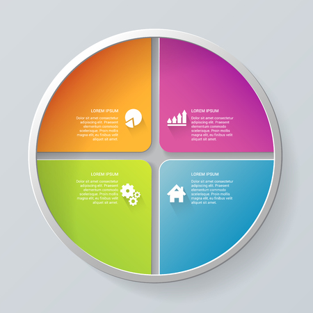 Multicolor simple proceso paso 4 pasos segmento circular etiquetas infografía plantilla maqueta. Infografía colección conceptos de fondo.