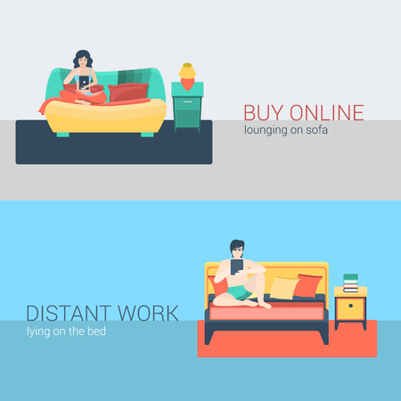 woman lying in bed: Flat style set people sofa leisure relax online activity. Sitting man tablet online web surfing distant bedroom work. Young woman internet shopping living room. Creative people collection.