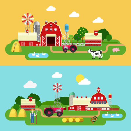 Flat style farm building green plants territory life outdoor banner set. Tractor cow goose farmer cowshed barn byre stall. Farming agriculture concepts collection.