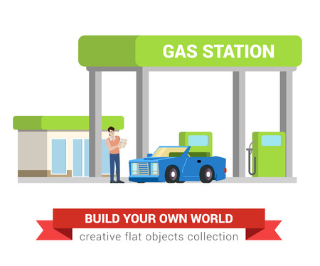 gas man: Car fuel refill process at gas refuel station. Young man and cabriolet. Flat style modern professional job related icon man workplace objects. People at work collection. Illustration