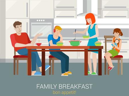 estilo plano concepto de desayuno familiar. Padres niños sentados mesa de la cocina mujer gachas imponen en la placa de tazón. Madre padre hermana hermano hijo hija. personas colección creativa.