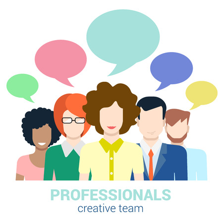 Social marketing word of mouth creative team gossip flat web infographic internet online technology concept vector template. Groups of micro people and chat callout signs. Creative people collection.