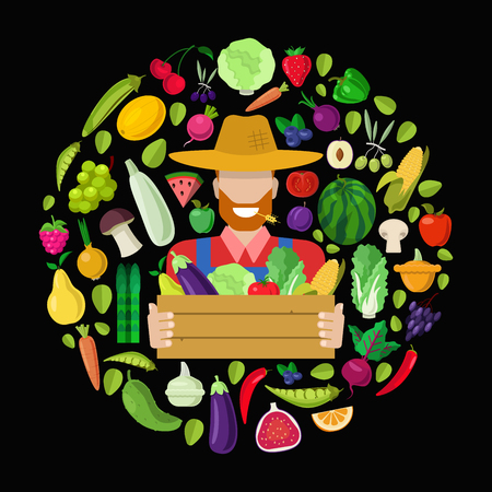 Farmer with full harvest box. Stylish quality detail icon set farm fruit vegetable berry mushroom plants. Agriculture concept. Food farming collection.
