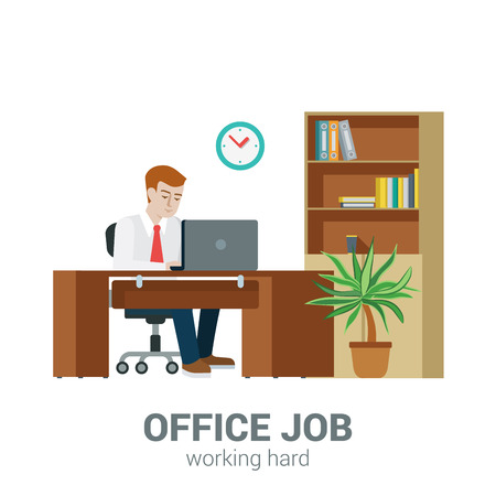 sitting at table: Office job process concept. Businessman sitting table laptop cupboard locker document shelf. Flat style modern professional work related icon man workplace. People at work collection.