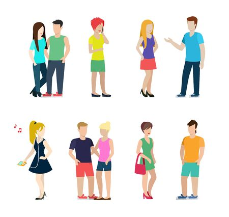 dating icons: Flat style modern people in casual clothes icons situations web template infographic vector icon set. Couples sole sexy beast dating isolated. Men women lifestyle icons. Illustration