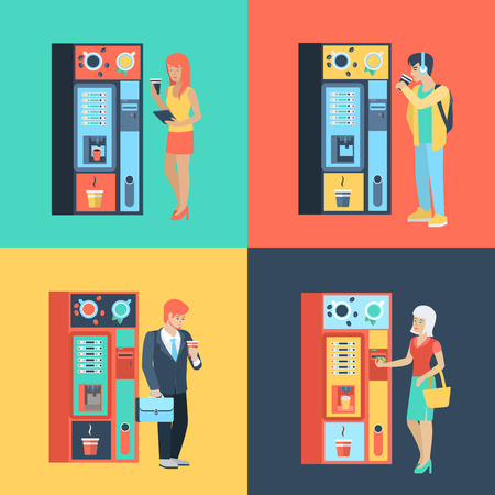 automatic machine: Set of man woman before coffee automatic machine. Flat people lifestyle situation coffee break. Vector illustration collection of young creative humans.