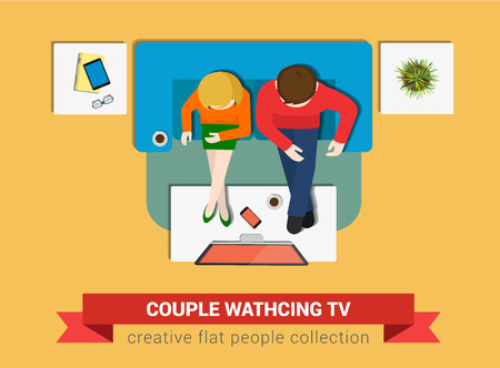 watch tv: Couple on sofa watch TV flat web infographic concept vector. Staff around table working. Creative people collection.