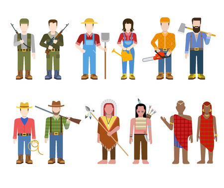 hunter man: Military army officer commander Indian cowboy farmer builder lumberjack hunter Brahmin people in uniform flat avatar user profile icon vector illustration set. Creative people collection.
