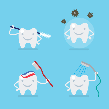 rinsing: Funny cute flat style tooth dental cartoon icon set. Flossing caries protection brushing washing rinsing.