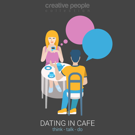 couple date: Real dating flat web infographic concept vector. Couple date in real life sitting talking restaurant cafe table chat bubble. Build your own world creative people collection.