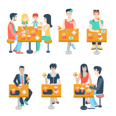fast meal: Set of stylish family young boy girl businessman couple figures sitting fastfood table. Flat people lifestyle situation fast food cafe restaurant meal time concept. Creative human collection. Illustration