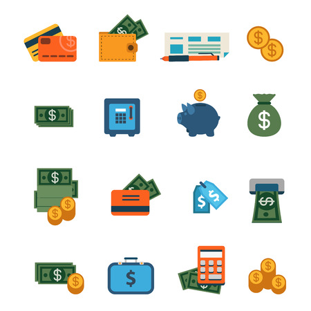 Flat web site interface finance online banking payment transaction infographics icon set. Wallet money dollar banknote coin safe credit card check internet concept icons collection. Illustration