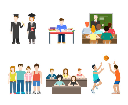 metaphoric: Flat style modern people icons education knowledge school university college situations web template infographic vector icon set. Men women lifestyle icons.