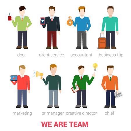 pr: Flat style modern business people company team staff professionals icon web template infographics vector icon set. Doer client service accountant marketing PR manager creative director chief isolated.