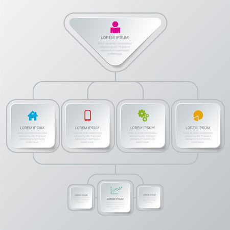 Simple stylish multicolor organization structure algorithm process style infographics mockup template. Infographic background concepts collection.