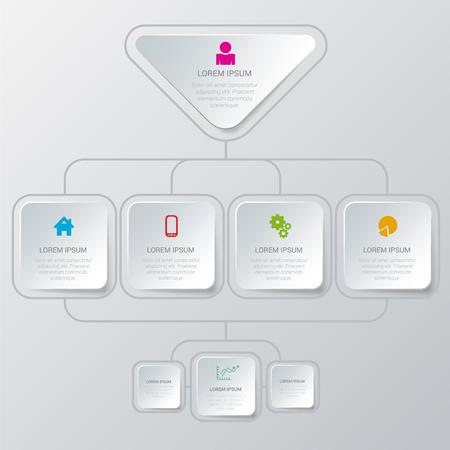 estructura: elegante plantilla de infografía estilo proceso algoritmo maqueta estructura de la organización multicolor simple. Infografía colección conceptos de fondo.