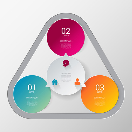 Three step process indicator simple stylish multicolor infographics mockup template. 3 circle indicators united combined by rounded triangle. Infographic elements background concepts collection.