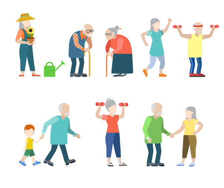 Flat style modern people icons oldies situations web template infographic vector icon set. Grey men women granny grandpa healthy lifestyle icons.