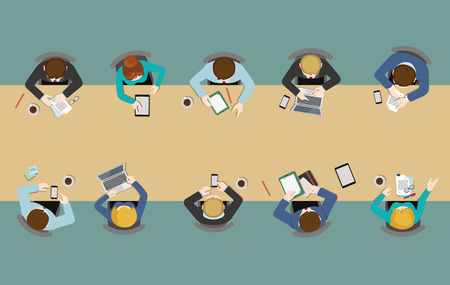 table top: Office table top view business flat web infographic concept vector. Staff around table working tablet laptop empty background. Brainstorm report planning. Creative people collection.