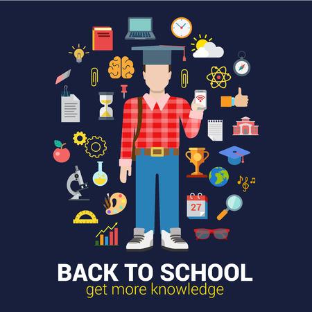 icono de la educación infografía estilo plano establece el concepto de collage. estudiante graduado de la escuela secundaria con teléfonos inteligentes y conocimientos objetos. Volver a la escuela de recogida. Ilustración de vector