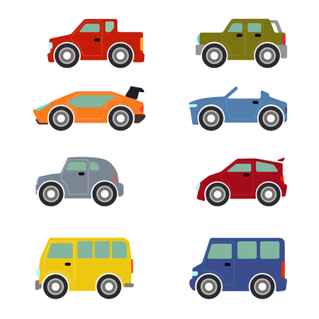 Flat funny cartoon road transport icon set. Sportscar supercar hatchback taxi cab car. Build your own world web infographic collection. Illustration