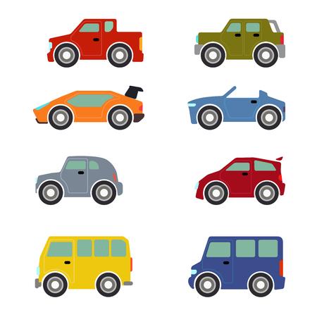Wohnung lustigen Comic-Straßenverkehr Symbol gesetzt. Sportscar supercar Fließheck Taxi Auto. Bauen Sie Ihre eigene Web-Welt Infografik-Sammlung.