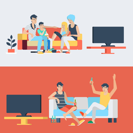 tv sets: Set family couple kids children in living room parenting watch TV. Friends drink beer. Flat people lifestyle situation family friendship leisure time concept. Young creative human collection. Illustration