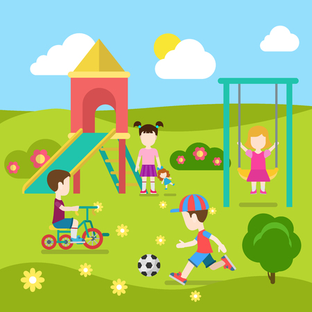 Flat style modern playground happy children play. Slide seesaw boy girl soccer. Childhood parenting collection.