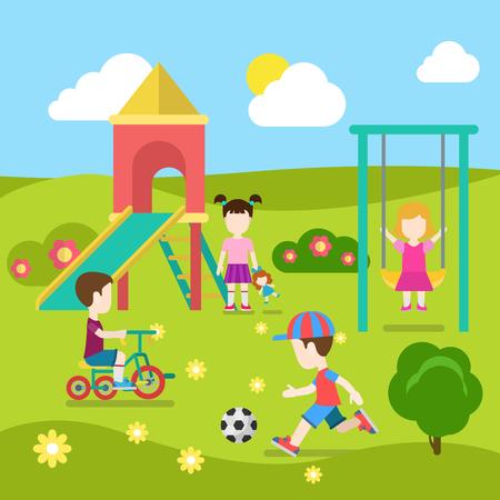 Vlakke stijl moderne speeltuin gelukkige kinderen spelen. Schuif wip jongensmeisje voetbal. Jeugd ouderschap collectie.