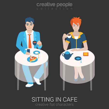a situation alone: Flat people relax leisure lifestyle situation in cafe restaurant concept. Set of young beautiful man woman sitting table drinking tea coffee alone. Young creative human vector illustration collection.