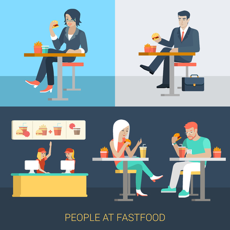 stylish couple: Set of stylish businessman businesswoman manager secretary stylish casual couple sitting fastfood table. Flat people lifestyle situation fast food cafe restaurant meal time concept. Creative human.