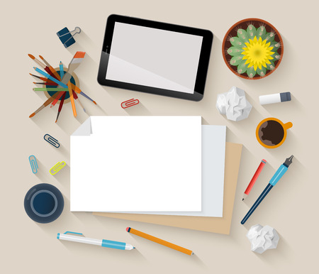 Showcase mockup modern flat design vector illustration concept. Top view table creative person artist workplace empty objects tablet crumpled paper cactus. Promotional materials template collection.